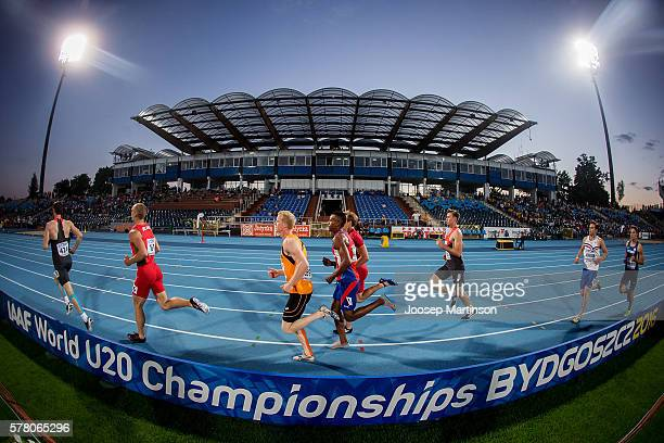 Competitors in action during menÕs 1500 metres decathlon during the IAAF World U20 Championships at the Zawisza Stadium on July 20 2016 in Bydgoszcz...