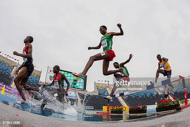 Competitors in action during men's 3000 metres steeplechase during the IAAF World U20 Championships at the Zawisza Stadium on July 24 2016 in...