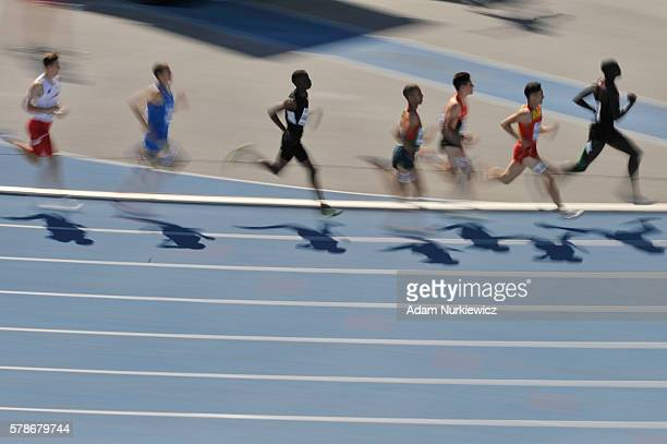 Competitors in action during men's 800 metres during the IAAF World U20 Championships at the Zawisza Stadium on July 22 2016 in Bydgoszcz Poland