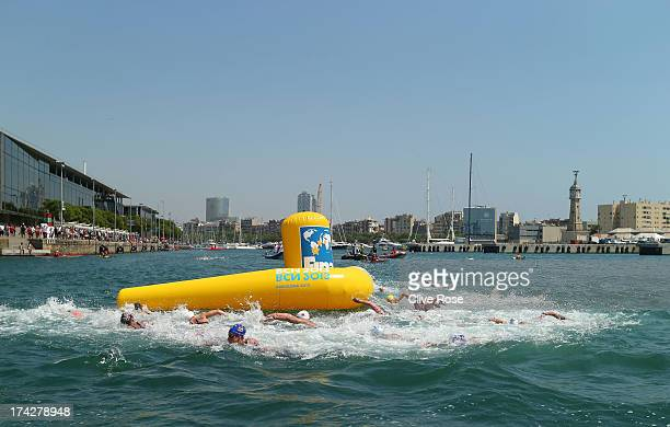 Competitors in action during the Open Water Swimming Women's 10k race on day four of the 15th FINA World Championships at Moll de la Fusta on July 23...