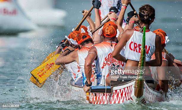 Competitors in action during the Red Bull Dragon Roar races at the Stanley Main Beach on 19 May 2013 in south Hong Kong China Photo by Victor Fraile