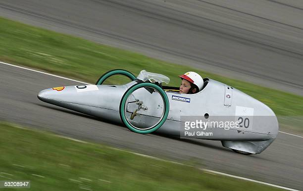 Competitors in action during the Shell Eco-Marathon UK at the Rockingham Motor Racing Circuit on July 7, 2005 in Corby, England.