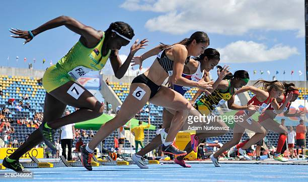 Competitors in action during women's 100 metres qualification round during the IAAF World U20 Championships at the Zawisza Stadium on July 20 2016 in...