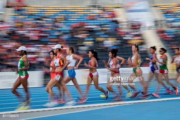 Competitors in action during women's 20 kilometres walk race final during the IAAF World U20 Championships at the Zawisza Stadium on July 19 2016 in...
