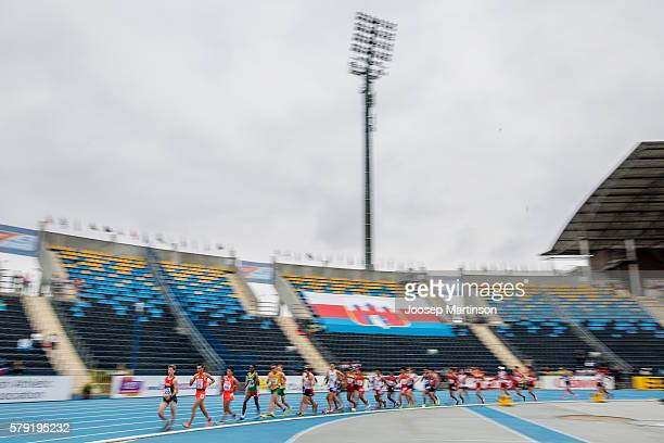 Competitors in action in men's 10 000 metres race walk during the IAAF World U20 Championships at the Zawisza Stadium on July 23 2016 in Bydgoszcz...