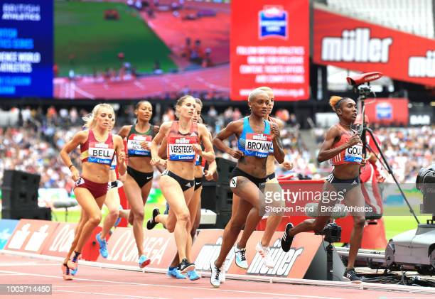 Competitors in action in the Women's 800m during Day Two of the Muller Anniversary Games at London Stadium on July 22 2018 in London England