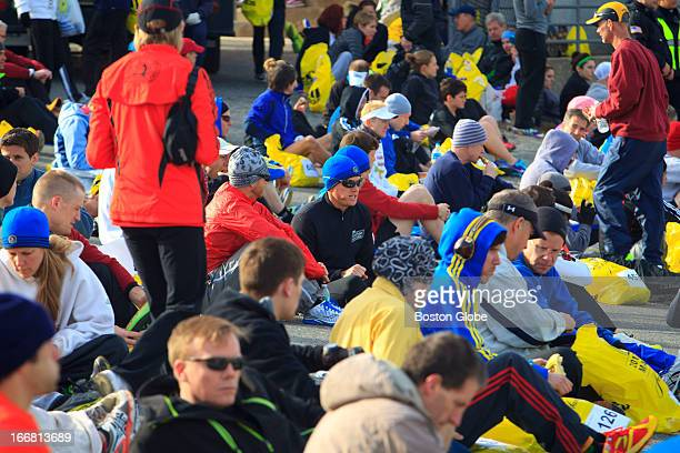 Competitors in Athlete's Village readied themselves before the start of the Boston Marathon Scenes from the 117th running of the Boston Marathon
