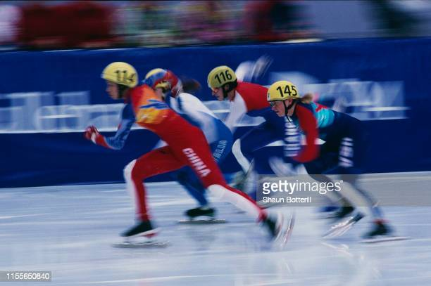 Competitors in the 2nd quarterfinal of the Women's 500 Metres Short Track Speed Skating event at the Hamar Olympic Amphitheatre during the Winter...
