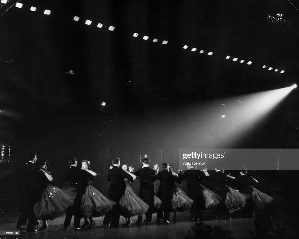 Competitors in the final of the British Professional Ballroom Championship at the Empress Ballroom of the Winter Gardens during the Blackpool Dance Festival. Original Publication: Picture Post - 7837 - Blackpool Dance Festival - pub. 1955