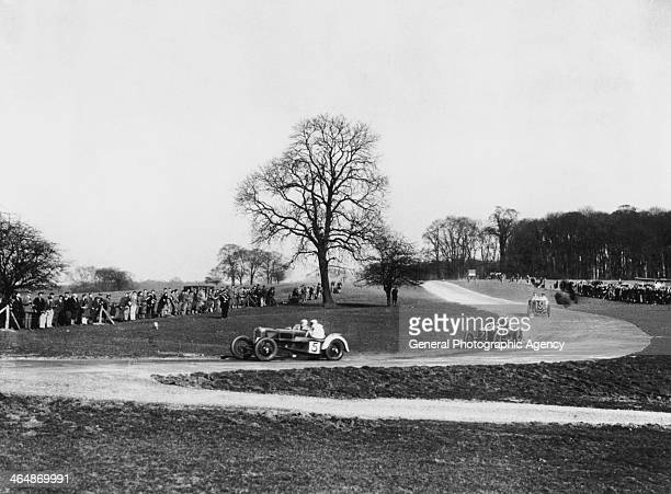 Competitors in the first ever race for cars to be held at the Donington Park circuit in Leicestershire 25th March 1933 Gordon Casswell is leading in...