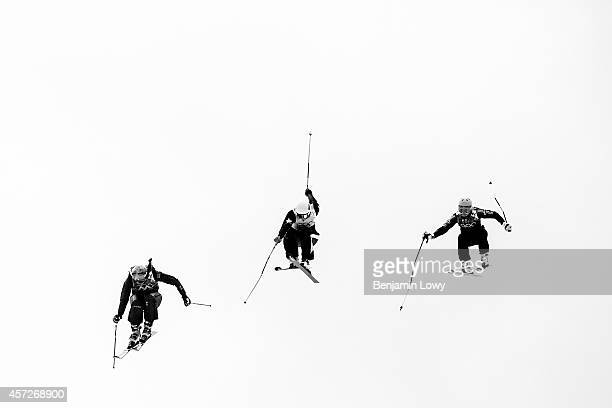 Competitors in the Freestyle Skiing Womens' Ski Cross on day 14 of the 2014 Winter Olympics at Rosa Khutor Extreme Park on February 21 2014 in Sochi...