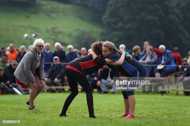 Competitors in the Girl's Wrestling competition during Grasmere Lakeland Sports Show on August 27, 2017 in Grasmere, England.