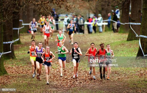 Competitors in the Men's U20 race make their way through the woodland of Wollaton Park Nottingham