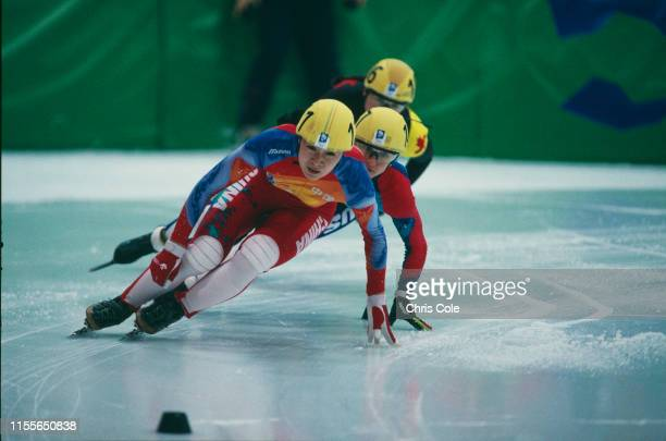 Competitors in the semi finals of the Women's 500 Metres Short Track Speed Skating event at the Hamar Olympic Amphitheatre during the Winter Olympics...