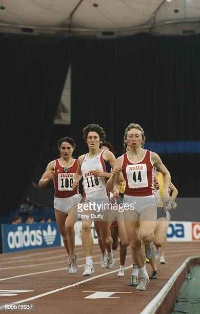 Competitors in the women's 1500 metres event at the IAAF World Indoor Championships at the Hoosier Dome Indianapolis Indiana United States March 1987...