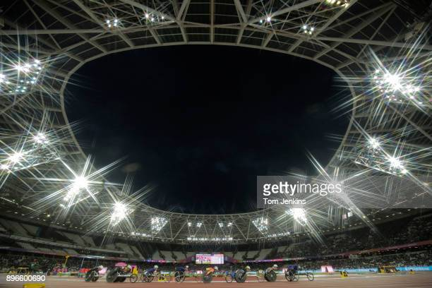 Competitors in the women's 5000m T54 final during the World Para Athletics Championships 2017 at the Olympic Stadium on July 22nd 2017 in London