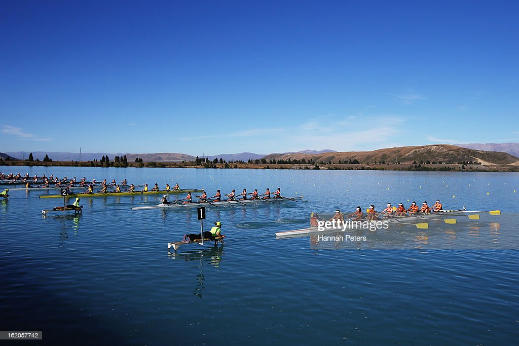 Competitors in the Women's Club 8+ start their heat during the New Zealand Rowing Championships at Lake Ruataniwha on February 19, 2013 in Twizel, New Zealand.