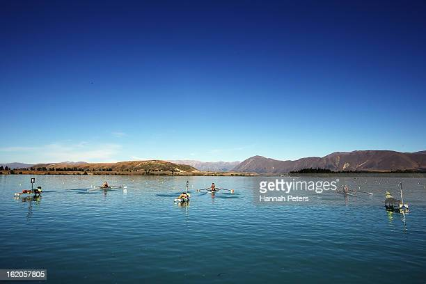 Competitors in the Women's U20 single sculls start their heat during the New Zealand Rowing Championships at Lake Ruataniwha on February 19 2013 in...