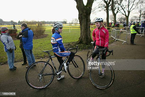 Competitors in the 'Youth Under 14' category chat before their race at the 2013 National CycloCross Championships in Peel Park on January 12 2013 in...