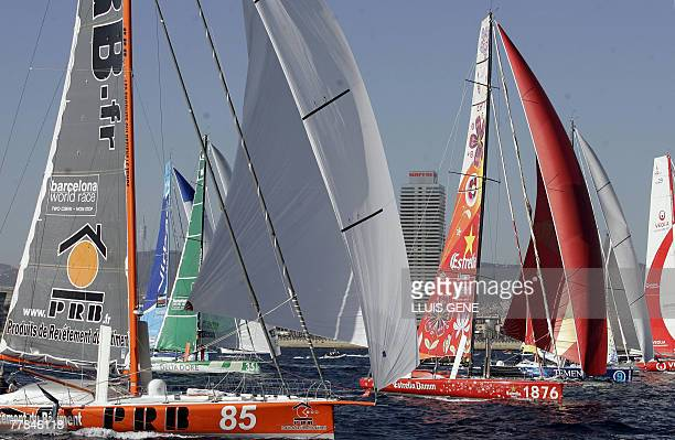 Competitors including Estrelle Damm Delta Dore and PRB are pictured 11 November 2007 in the 'Barcelona World Race' nonstop round the world sailing...