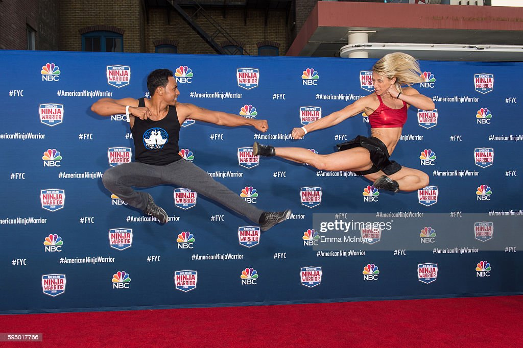 Competitors Jessie Graff (R) and Christopher Workman attend the screening event of NBC's 'American Ninja Warrior' in celebration of the show's first Emmy Award nomination at Universal Studios Hollywood on August 24, 2016 in Universal City, California.