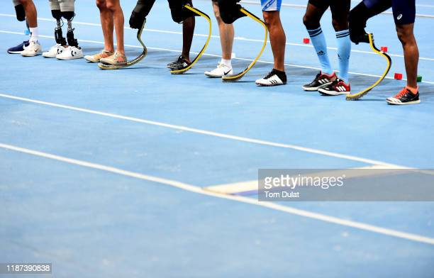 Competitors legs are pictured on Day Seven of the IPC World Para Athletics Championships 2019 Dubai on November 13 2019 in Dubai United Arab Emirates