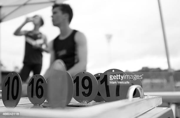 Competitors markers are seen during the mens U18 pole vault event during the Australian Junior Athletics Championships at Sydney Olympic Park on...