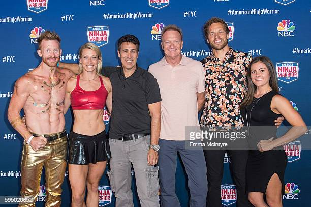 Competitors Neil Craver and Jessie Graff executive Producers Kent Weed and Arthur Smith and competitor Kacy Catanzaro attend the screening event of...