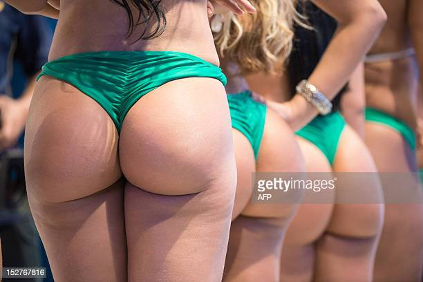 Competitors of Miss Bumbum Brasil 2012 the contest for the cutest bottom wait to record a TV program in Osasco a surburb of Sao Paulo Brazil on...