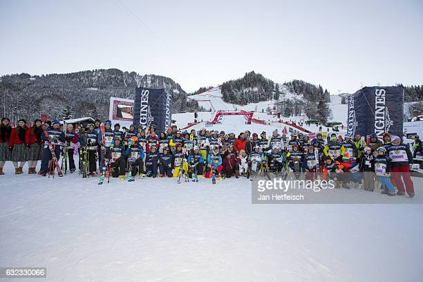 Competitors of the KitzCharityTrophy pose for a picture on January 21 2017 in Kitzbuehel Austria