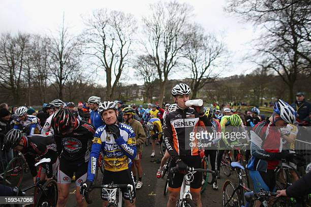 Competitors on the start line in the 'Veteran 4049 Men' category race at the 2013 National CycloCross Championships in Peel Park on January 12 2013...
