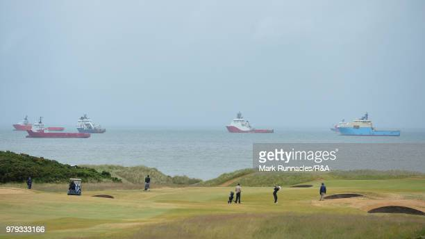 Competitors at the 13th green during the third day of The Amateur Championship at Royal Aberdeen on June 20 2018 in Aberdeen Scotland