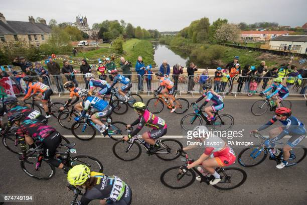 Competitors passes through Fearby during Woman's Race from Tadcaster to Harrogate during Stage Two of the Tour de Yorkshire