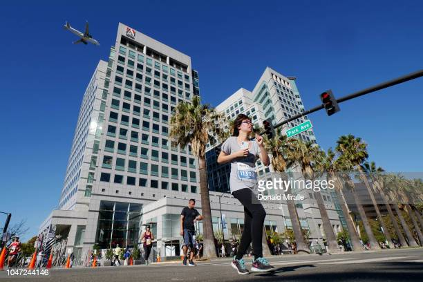 Competitors past Adobe Headquarters during the Michelob Ultra Rock 'n' Roll San Jose 1/2 Marathon and 10K in San Jose California on October 7 2018