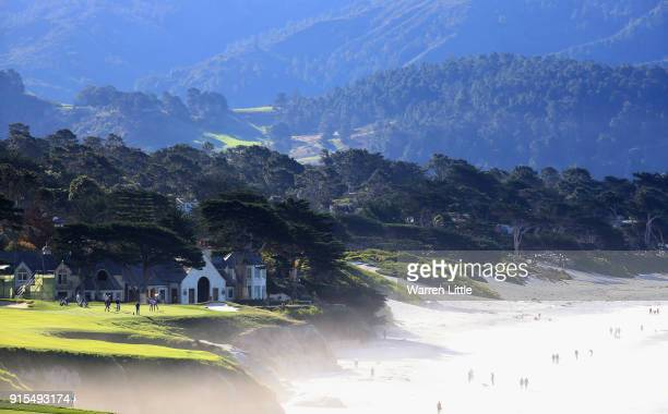 Competitors plays the 10th green during a practice round ahead of the ATT Pebble Beach ProAm on the Pebble Beach Golf Links on February 7 2018 in...