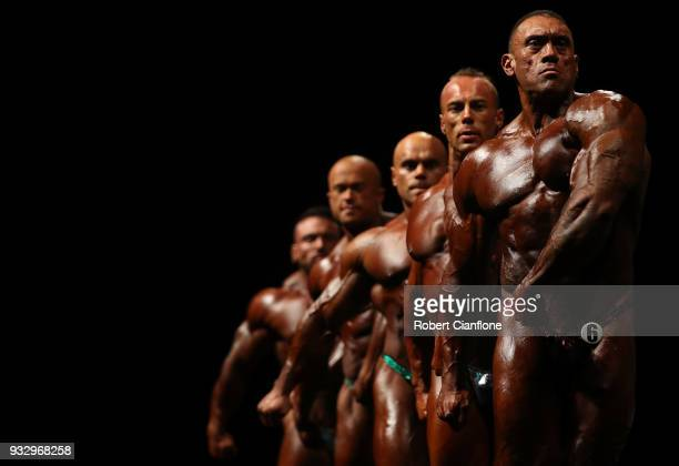 Competitors pose during the Arnold Classic Pro Show during the Arnold Sports Festival Australia at The Melbourne Convention and Exhibition Centre on...