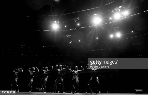 Competitors pose during the Men's Heavyweight IFBB Amateur Competition during the 2017 Arnold Classic at The Melbourne Convention and Exhibition...