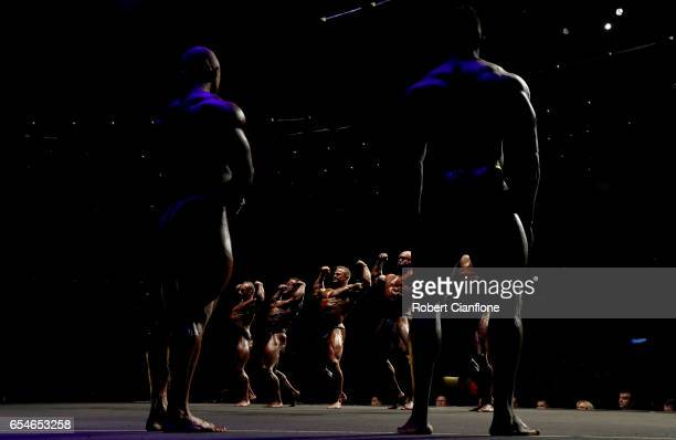 Competitors pose during the Men's Super Heavyweight IFBB Amateur Competition during the 2017 Arnold Classic at The Melbourne Convention and...