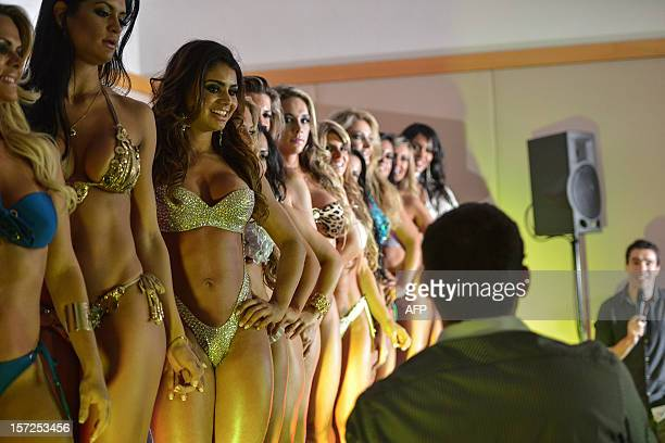 Competitors pose during the Miss Bumbum pageant in Sao Paulo on November 30 2012 All eyes are on Brazil's annual Miss Bumbum pageant in Sao Paulo on...