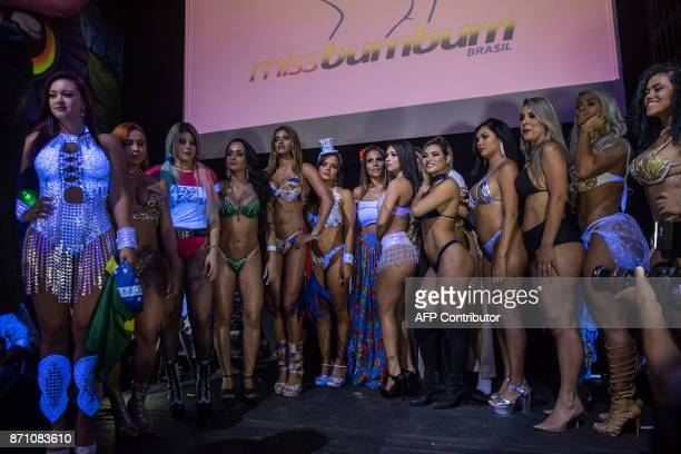 Competitors pose on the catwalk during the Miss Bumbum Brazil 2017 pageant in Sao Paulo on November 07 2017 Fifteen candidates are competing in the...