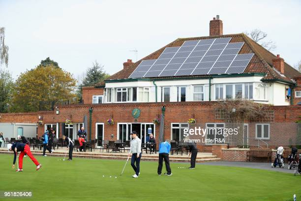Competitors practice their putting ahead of the first round of the Girls' U16 Open Championship at Fulford Golf Club on April 27 2018 in York England