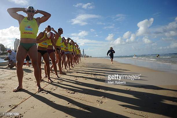 Competitors prepare at the start of the Open Men's Ironman during the 2011 Australian Surf Lifesaving Championships at Kurrawa Beach on April 7 2011...
