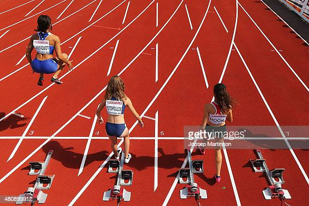 Competitors prepare during the Women's 100m at Ekangen Arena on July 16 2015 in Eskilstuna Sweden