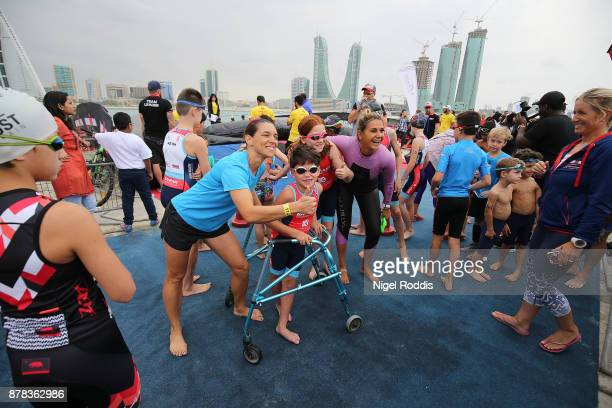 Competitors prepare for the Iron Kids race of IRONMAN 703 Middle East Championship Bahrain on November 24 2017 in Bahrain Bahrain