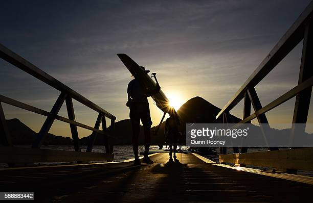 Competitors prepare for the rowing at the Lagoa Stadium on Day 2 of the Rio 2016 Olympic Games on August 7 2016 in Rio de Janeiro Brazil