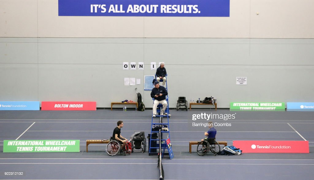 Competitors prepare for their match during the 2018 Bolton Indoor Wheelchair Tennis Tournament at Bolton Arena on February 21, 2018 in Bolton, England.