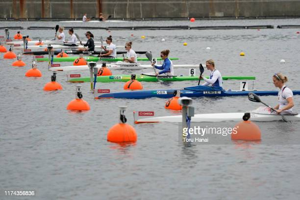 Competitors prepare for Women's Kayak Single 200m semifinal during a canoe sprint test eventfor the Tokyo 2020 Olympic and Paralympic Games at Sea...