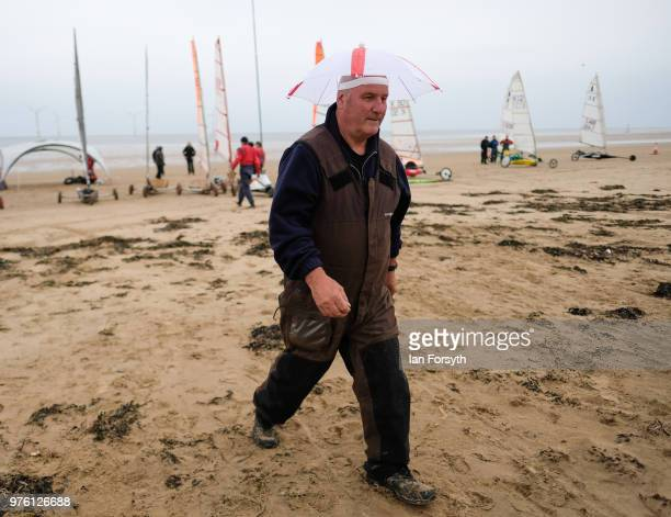 Competitors prepare to race during the National Land Sailing regatta held on Coatham Sands on June 16, 2018 in Redcar, England. Land sailing events...