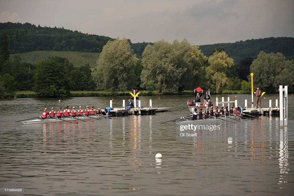 Competitors prepare to race on the first day of the Henley Women's Regatta on June 21, 2013 in Henley-on-Thames, England. The annual 3-day event, which has taken place since 1988, sees female crews from the UK and abroad compete on the Henley Royal Regatta course. In the past, several female rowers who have enjoyed success at the Henley Women's Regatta have gone on to win Olympic medals in the sport.