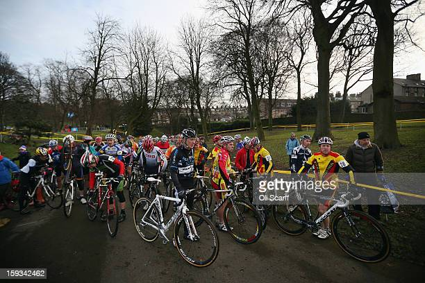 Competitors prepare to take to the start in the 'Veteran Men 50' category at the 2013 National CycloCross Championships in Peel Park on January 12...
